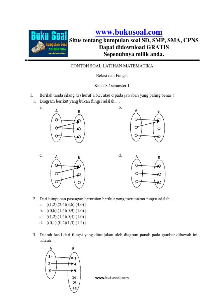 2 Contoh Soal Latihan Matematika Relasi Dan Fungsi Kelas 8 Smp Docx