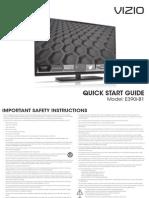 """VIZIO E390i-B1 39"""" HDTV with Smart TV (VIA Plus) Set Up Guide"""