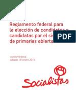 Reglamento federal para elección de candidatos o candidatas por el sistema de primarias abiertas