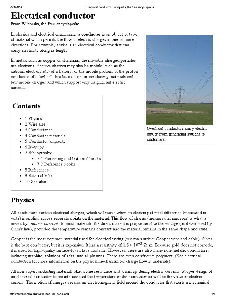 Electrical Conductor - Wikipedia, The Free Encyclopedia | Electrical ...
