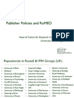 Publisher policies and RoMEO (Bill Hubbard, Univeristy of Nottingham)