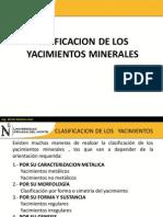 Clasificacion de Los Yacimientos Minerales