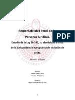 Responsabilidad Penal de Las Personas Juridicas. Estudio de La Ley 20393, Su Efectividad a La Luz de La Jurisprudencia y Propuesta de Inclusion de Delito