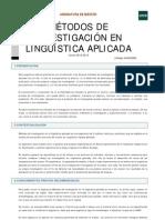 1 Métodos de investigación en lingüística aplicada