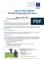 Ahead of the Game - NLP Day for Sports Coaches 2009