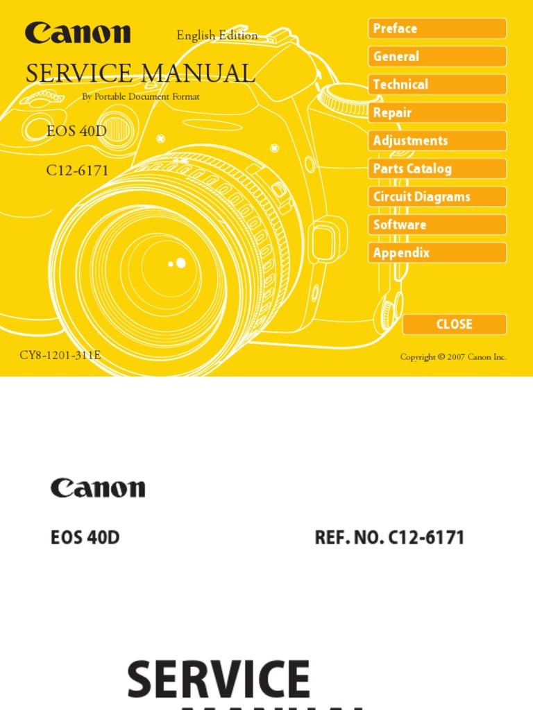 Canon Eos 40D Service Manual Repair Guide   Autofocus   Live Preview