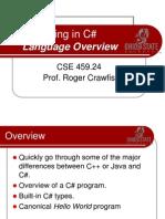 CSE459_CSharp_02_LanguageOverview