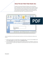 Cara Menyisipkan Nama File Dan Folder Pada Header Atau Footer Ms Excel