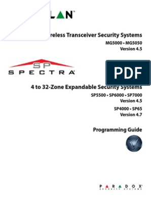 Paradox Magelan Spectra - Programming Guide | Security Alarm