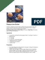 Papaya Lime Sorbet
