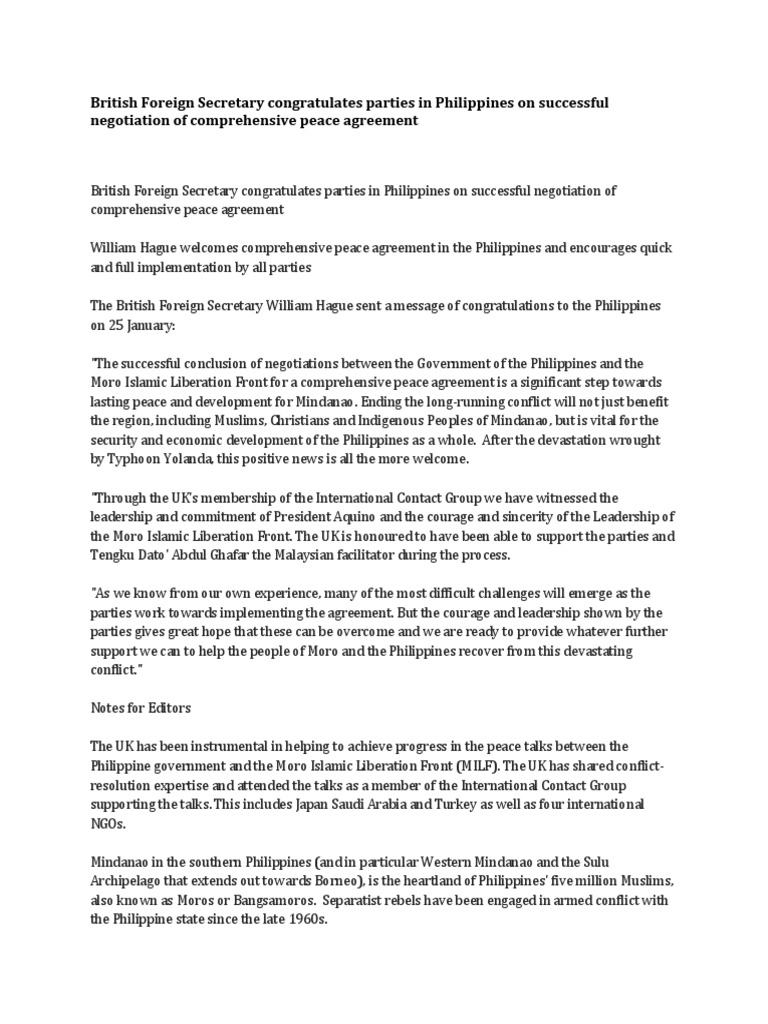 British Foreign Secretary Congratulates Parties In Philippines On