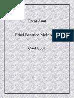 Great Aunt Ethel Beatrice McIntyres' Cookbook Copyright Jan 2014