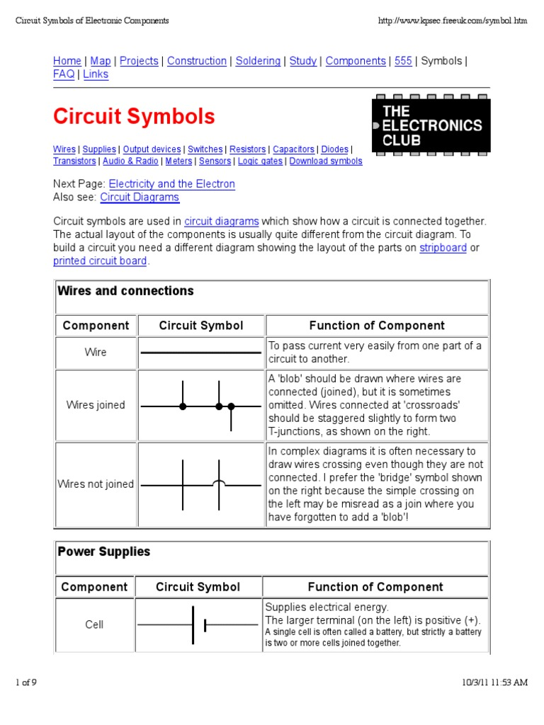 Circuit Symbols | Switch | Electronic Circuits for Connecting Wire Circuit Symbol  174mzq