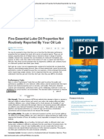 Five Essential Lube Oil Properties Not Routinely Reported by Your Oil Lab