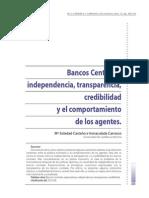 Bancos Centrales, Independencia, Transparencia y Credibilidad