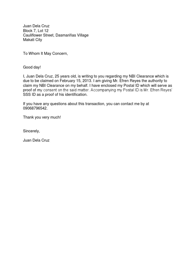 Authorization letter tagalog sample for claiming nbi clearance spiritdancerdesigns Choice Image