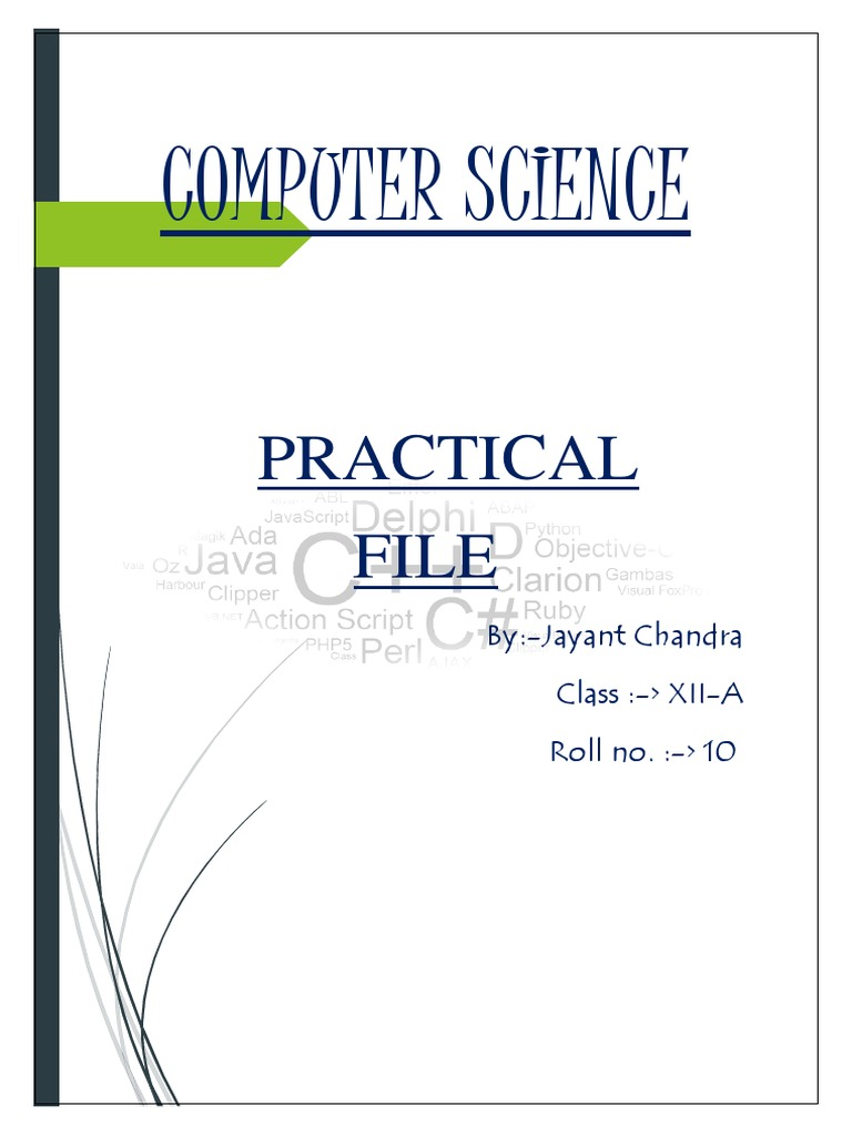 Comp Science Practical File 12th class | Computer Data