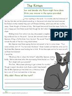 Reading Comprehension Kitten