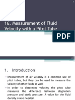 16. Measurement of Fluid Velocity With a Pitot Tube