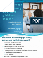 Medical Disclosure When Things go Wrong