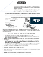 Treadmill operating manual