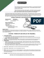 Treadmill operating manual
