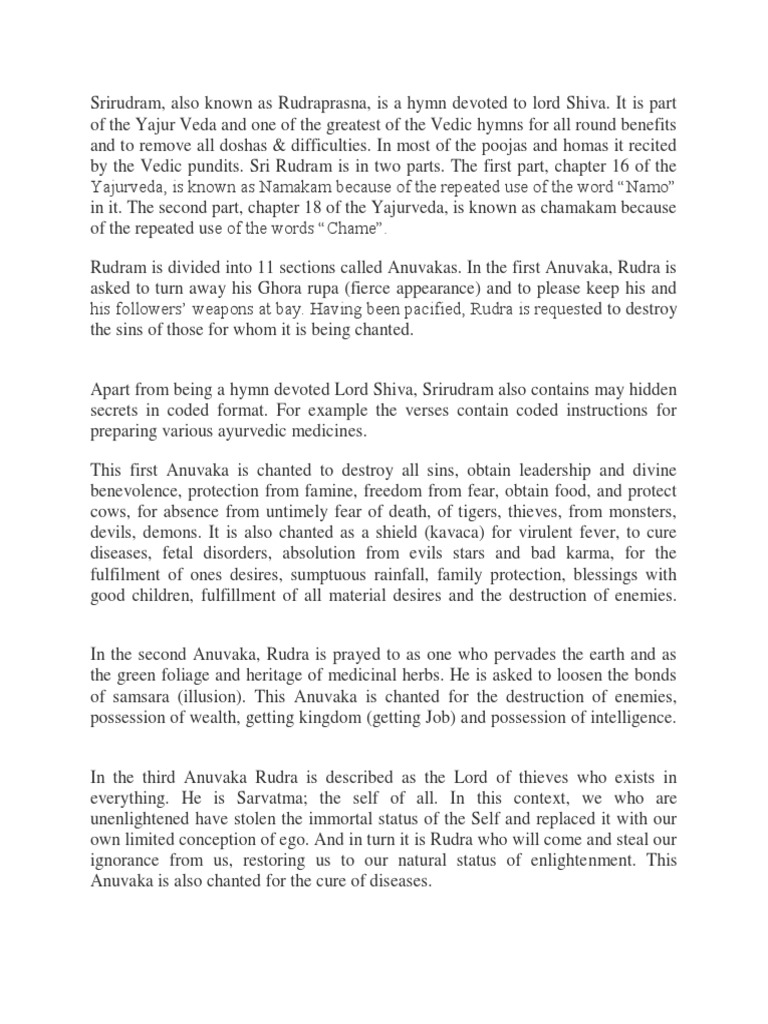 Sri Rudram -Intro | Religious Faiths | Indian Religions