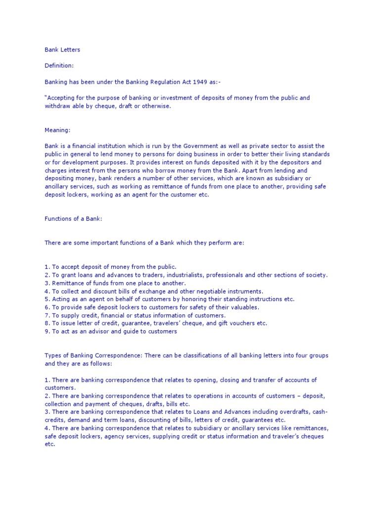 types of banking correspondence
