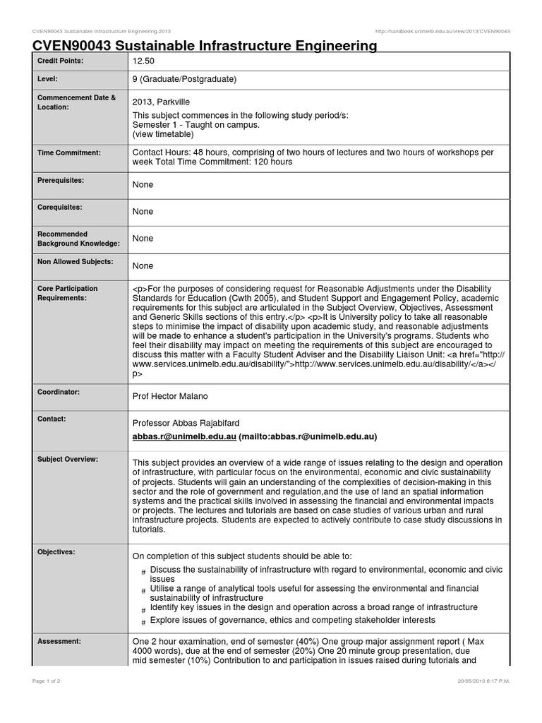 Cven90043 sustainable infrastructure engineering engineering cven90043 sustainable infrastructure engineering engineering postgraduate education stopboris Image collections