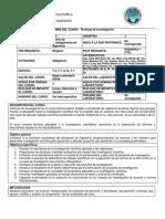 PROGRAMA TECNICAS DE INVESTIGACIÓN 2DO SEMESTRE 2013