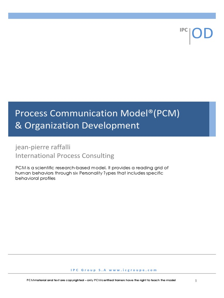Process munication Model PCM Organization Development