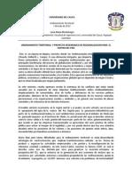 Ordenamiento Territorial y Proyecto Hegemonico de Regionalizacion Para El Centro Del Pais