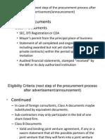 Eligibility Criteria for Bidders (BDS)