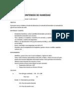 CONTENIDO de HUMEDAD Informe Mecanica de Suelo