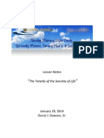 Lifelines Lesson 140119 the Totality of the Sanctity of Life - Darryl J Dawson Sr