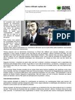 Especialistas em hacktivismo criticam ações do AnonymousBR