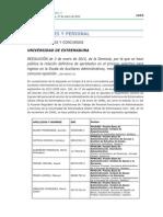 Oposiciones Auxiliares Administrativos de La UEx. Aprobados Definitivos