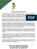 Communiqué de presse Verts Aquitaine grand contournement