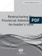 Restructuring the Provincial Administration: An Insider's View