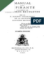 Oficialdegui, Alfonso - Manual Del Aspirante a La Orden de Agustinos Recoletos