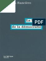 Ranciere, Jacques-La haine de la démocratie