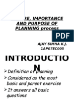 Nature, Importance and Purpose of Planning Process