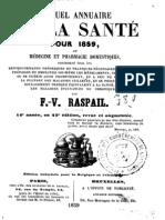FV Raspail - Manuel Annuaire de la santé 1859