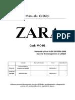 Manualul calității Zara