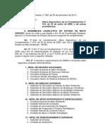 Lei Complementar n° 522 de 30.12.2013 - Estruturação da SEMA-MT