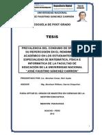 """PREVALENCIA DEL CONSUMO DE DROGAS Y SU REPERCUSIÓN EN EL RENDIMIENTO ACADÉMICO EN LOS ESTUDIANTES DE LA ESPECIALIDAD DE MATEMÁTICA, FÍSICA E INFORMÁTICA DE LA FACULTAD DE EDUCACIÓN DE LA UNIVERSIDAD NACIONAL """"JOSÉ FAUSTINO SÁNCHEZ CARRIÓN"""""""