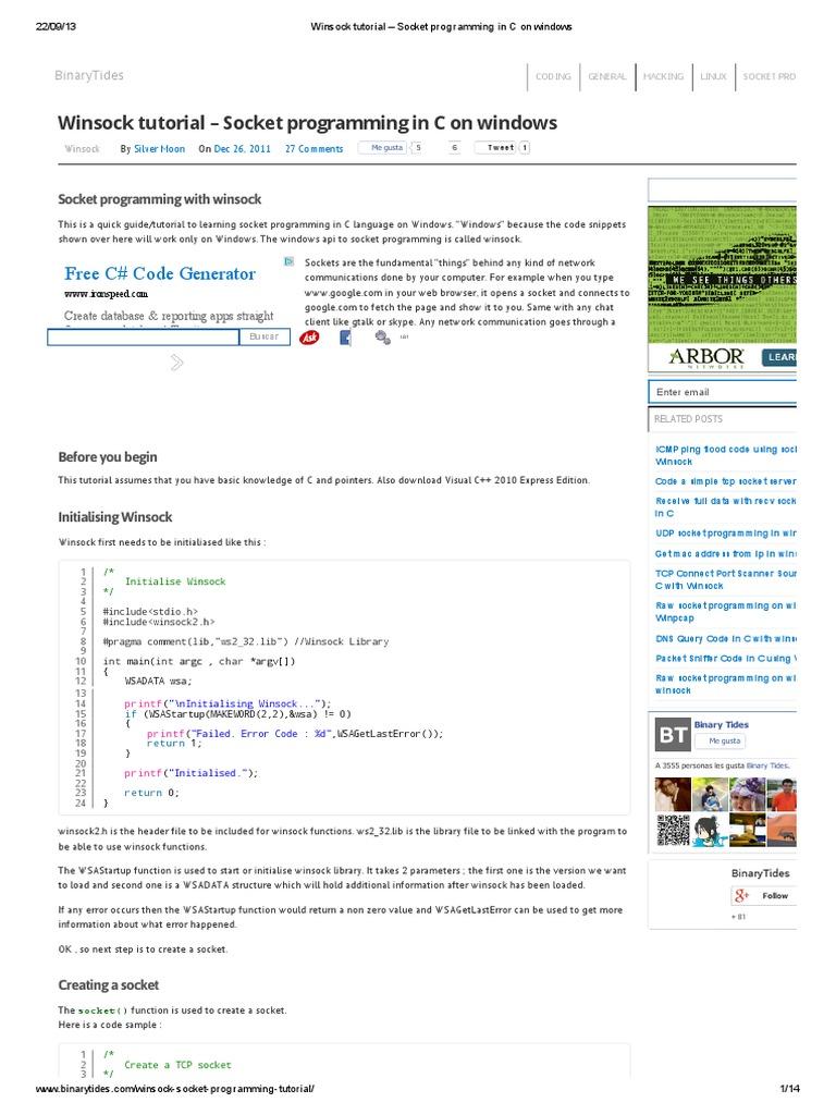 Winsock tutorial – Socket programming in C on windows | Network