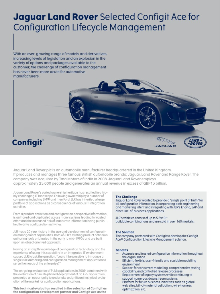 Jaguar Land Rover Configuration Lifecycle Management Web | Product Lifecycle  | Enterprise Resource Planning