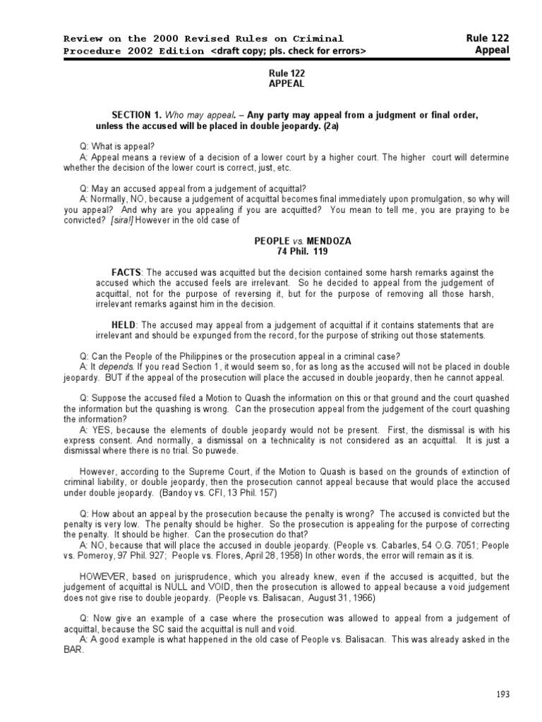 21511532-Rule-122-Appeal | Double Jeopardy | Plea