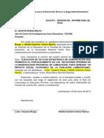 Modelo de Solcitud para REVISIÓN INFORME DE TESIS PRE GRADO